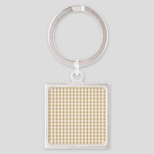 Light Brown White Gingham Pattern Keychains