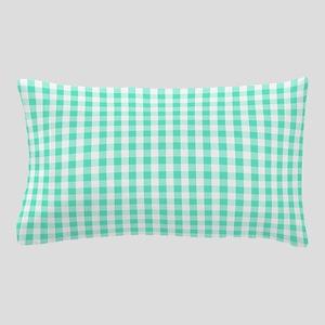 Seafoam Green White Gingham Pattern Pillow Case