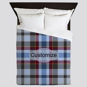 Foggy Night Plaid Queen Duvet