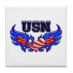 USN Heart Flag Tile Coaster