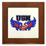 USN Heart Flag Framed Tile