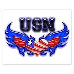 USN Heart Flag Small Poster