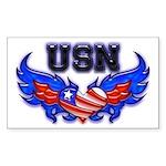 USN Heart Flag Rectangle Sticker