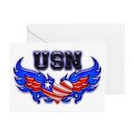 USN Heart Flag Greeting Cards (Pk of 10)