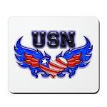 USN Heart Flag Mousepad