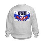 USN Heart Flag Kids Sweatshirt