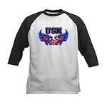 USN Heart Flag Kids Baseball Jersey