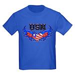 USN Heart Flag Kids Dark T-Shirt