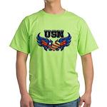 USN Heart Flag Green T-Shirt