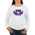 USN Heart Flag Women's Long Sleeve T-Shirt