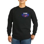 USN Heart Flag Long Sleeve Dark T-Shirt