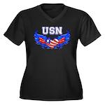USN Heart Flag Women's Plus Size V-Neck Dark T-Sh