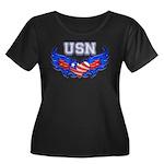 USN Heart Flag Women's Plus Size Scoop Neck Dark