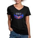 USN Heart Flag Women's V-Neck Dark T-Shirt
