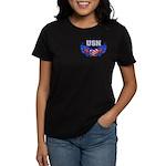 USN Heart Flag Women's Dark T-Shirt