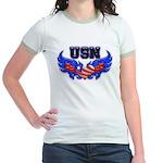 USN Heart Flag Jr. Ringer T-Shirt