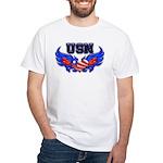 USN Heart Flag White T-Shirt