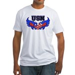 USN Heart Flag Fitted T-Shirt