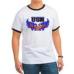 USN Heart Flag Ringer T