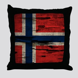 Flag of Norway Vintage Mulitiply Throw Pillow