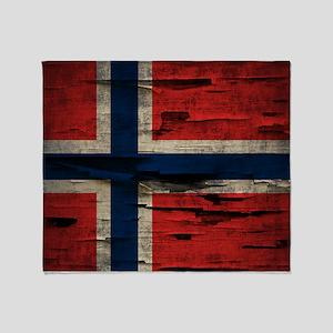 Flag of Norway Vintage Mulitiply Throw Blanket
