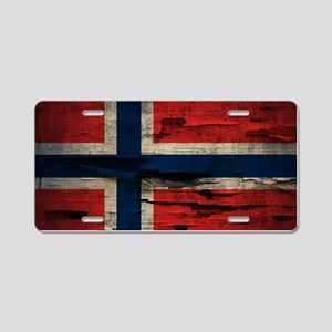 Flag of Norway Vintage Mulitiply Aluminum License
