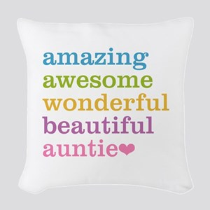 Auntie - Amazing Awesome Woven Throw Pillow