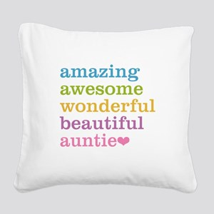 Auntie - Amazing Awesome Square Canvas Pillow