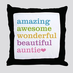 Auntie - Amazing Awesome Throw Pillow