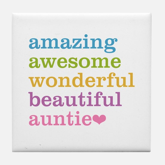 Auntie - Amazing Awesome Tile Coaster