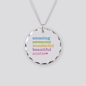 Auntie - Amazing Awesome Necklace Circle Charm