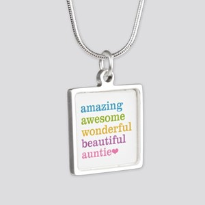 Auntie - Amazing Awesome Silver Square Necklace