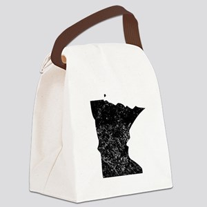 Distressed Minnesota Silhouette Canvas Lunch Bag