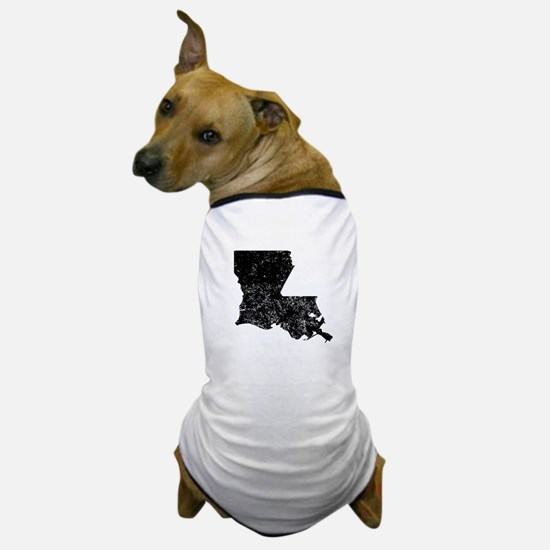 Distressed Louisiana Silhouette Dog T-Shirt