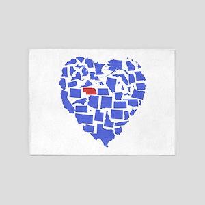 Nebraska Heart 5'x7'Area Rug