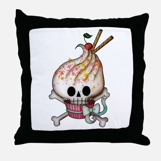 Skull Cupcake Throw Pillow