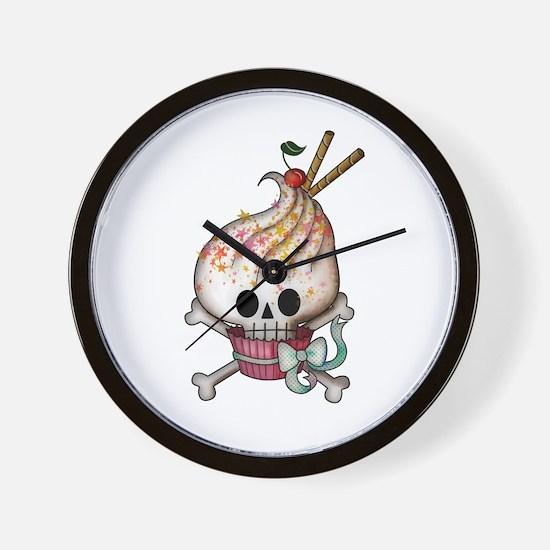 Skull Cupcake Wall Clock
