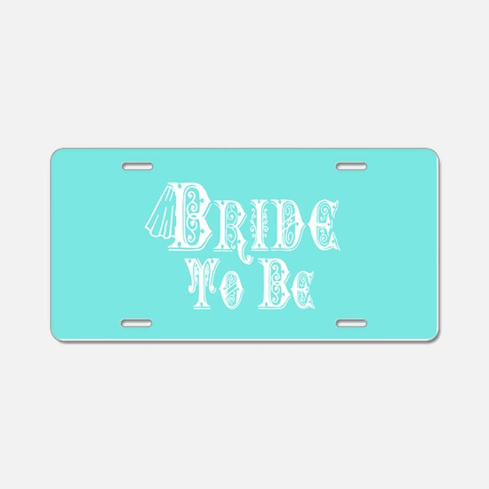 Bride To Be With Veil, Fancy White Type Teal Alumi