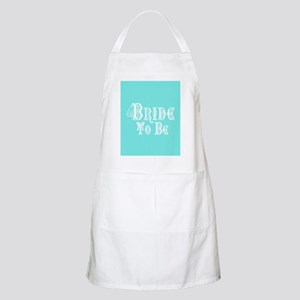 Bride To Be With Veil, Fancy White Type Teal Apron