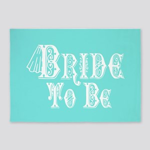 Bride To Be With Veil, Fancy White Type Teal 5'x7'