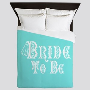Bride To Be With Veil, Fancy White Type Teal Queen