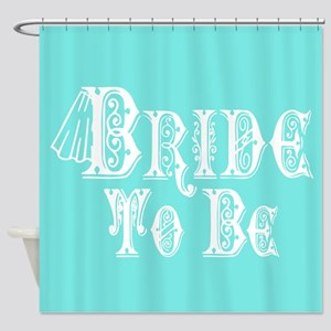 Bride To Be With Veil, Fancy White Type Teal Showe