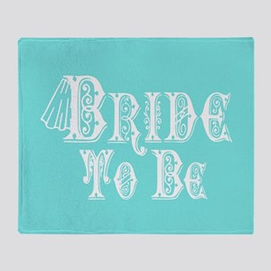 Bride To Be With Veil, Fancy White Type Teal Throw