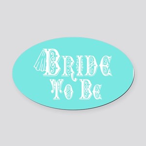 Bride To Be With Veil, Fancy White Type Teal Oval