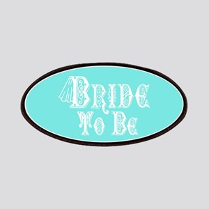 Bride To Be With Veil, Fancy White Type Teal Patch