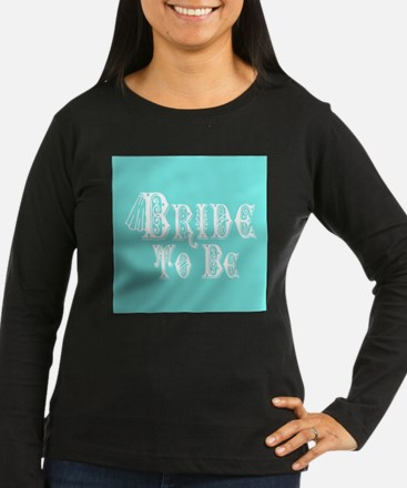 Bride To Be With Veil, Fancy White Type Teal Long