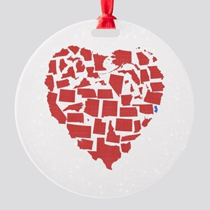 New Jersey Heart Round Ornament