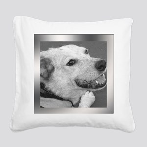 Your Photo in a Silver Frame Square Canvas Pillow