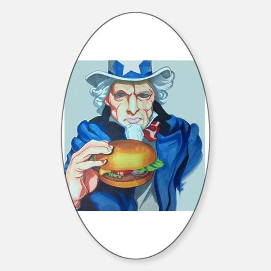 Cute Uncle sam satire Sticker (Oval)