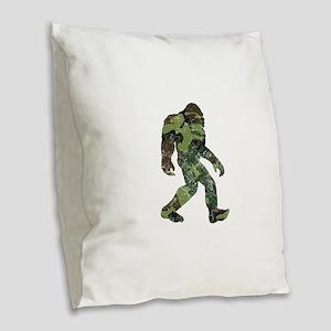 Camo Bigfoot Burlap Throw Pillow